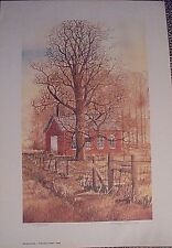 Keller School by Marge Brandt, old brick country school watercolor print, 8x13,