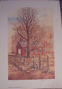 Keller School by Marge Brandt, old brick country school watercolor print, 8x13,
