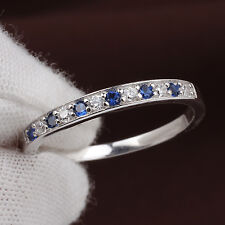 .925 Sterling Silver Band Ring Size 7 Clear and Sapphire Blue CZ for Girlfriend