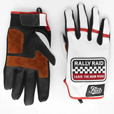 Fuel Rally Raid Patch Short Motorbike Motorcycle Gloves - White