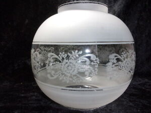 VINTAGE OIL LAMP GLASS SHADE, FROSTED, 'FLORAL'.