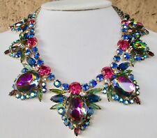 Juliana Heliotrope Watermelon AB Pink Purple Blue Green Rhinestone Necklace