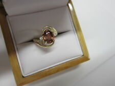 STUNNING 14 KT GOLD 2.51 CTW VIVID IMPERIAL ORANGE ZIRCON AND DIAMOND RING !!!!