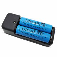 2Pcs 18650 Battery 3.7V 5000mAh Li-ion Rechargeable and 4.2V US/EU/AU/UK Charger