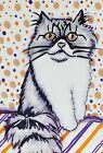 PERSIAN Spooky ACEO Original Miniature Cat Art Painting Vintage Style Artist