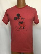 DISNEY Mickey Mouse Red Graphic Cotton Ringer T-Shirt ~ Sz Small ~ USA