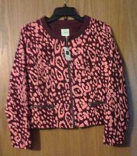 Womens GAP Coral & Burgundy leopard print design short full zip jacket sz 4 NWT