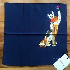 PAUL SMITH NAVY BLUE CAT PRINT SILK POCKET SQUARE MADE IN ITALY BNWT