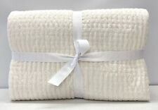 NEW Pottery Barn PickStitch Cotton Linen FULL/QUEEN Quilt~Classic Ivory