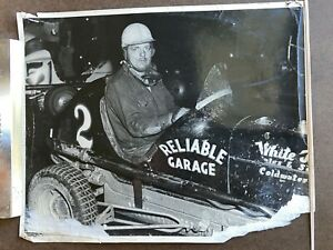 "Vintage 1950s Auto Racing Photo 8x10 B&W ""Reliable Garage"" #2 Midget Car"