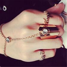 Frauen Vogue Link Midi Ring Set Chic Crystal Knuckle Ring Kette Fingerribgl STDE