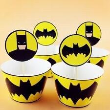 24 PCS DC COMICS BATMAN CUPCAKE WRAPPERS & TOPPERS BIRTHDAY PARTY SUPPLIES