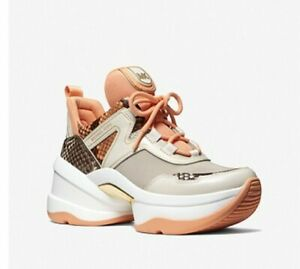 Michael Kors Women's Olympia Trainer Embossed Printed Leather Cantaloupe Multi