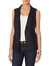 THE LIMITED Safari Vest Button Front Elastic Waist 100% Linen Black XS