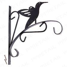 "Ornate Metal Bird Hanging Basket Bracket Hook 12"" Flower Garden Patio Planter"