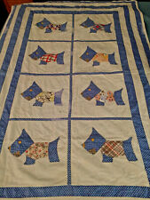 Vintage Baby Quilt Or Wall Hanging With Scottie Dogs In Blues