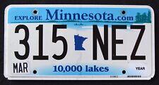 "MINNESOTA "" 10.000 LAKES - EXPLORE - 315 NEZ ""  MN Graphic License Plate"