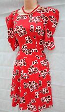 SIZE 8 10 VINTAGE 40s WW2 LANDGIRL STYLE RED SPOT TEA DRESS ~ US 6 EU 36 38