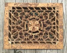 VTG ANTIQUE CAST IRON GOTHIC FLOOR GRATE HEAT VENT 9X12 MECHANICAL CENTER TURN