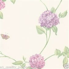Norwall Decoración de paredes,Vinilo Rosa Floral Diseño Mariposa Papel pintado,