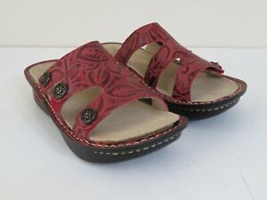 ALEGRIA LEATHER SLIP ON SANDALS EMBOSSED RUBY RED NEW 36 FITS 6-6.5