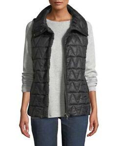 NWT - Eileen Fisher stand collar black chevron puffer vest zip - size M - $298