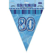 GLITZ BLUE 80TH BIRTHDAY PARTY SUPPLIES FLAG PENNANT BANNER DECORATION