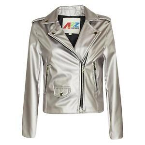 Girls Jackets Kids PU Faux Leather Metallic Silver Jacket Zip Up Biker Coat 5-13