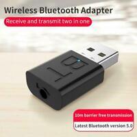 Black Bluetooth 5.0 Audio Transmitter Receiver USB Car PC Speaker Adapter R0R6