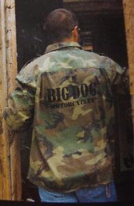 BIG DOG MOTORCYCLES MILITARY FATIGUE SHIRT SMALL CAMO W/ LOGO ARMY BDM