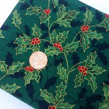 100/% Algodón Rojo y Dorado Lurex Navidad Tela de Tartán-varios metros-Sewing BEE