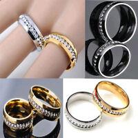 Unisex Stilvolle Silber Gold Farben Edelstahl Freie Kristallrhinestone Ringe Neu