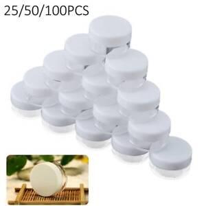 100X CLEAR PLASTIC SMALL SAMPLE JARS POT GLITTER CREAM COSMETIC NAIL ART STORAGE