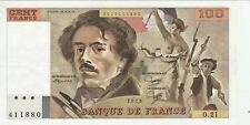 BELLE COULEURS 100 FR DELACROIX 1979 O 21   1èpinglage 1 PLI cote SPL 100 EURO