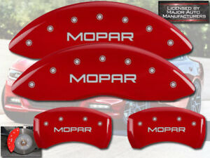 "2001-2006 Dodge Stratus Front + Rear Red MGP Brake Disc Caliper Covers ""Mopar"""