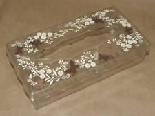 Vtg 70s Wolff Ny Lucite Cream Flower Brown Butterfly Tissue Box Cover Dispenser
