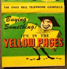 1960s Era Ohio Bell Telephone Yellow Pages cartoon mascot large matchbook-CUTE!