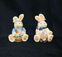Patchwork Bunny Figurines Set Of (2) Easter Resin