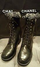 Chanel Calfskin Combat Cap Toe Tweed Boots 36.5/6-6.5 US