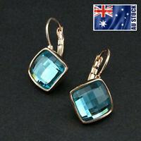 New 18K Rose Gold GF Blue Aqua CRYSTAL Square Hoop Huggie Earrings Stunning