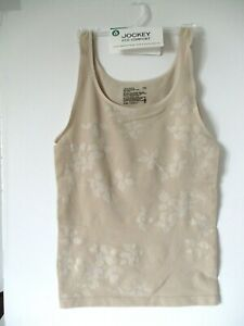 Jockey women's eco comfort seam free tank camisole size Large beige style 2618