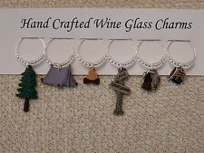 """"""" TENT CAMPING """" Hand Crafted SET OF 6  Wine Glass Charms"""