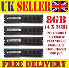 8 GB DDR3 Desktop RAM (4X2GB) 10600U 1333 MHz UK venditore NON-ECC 240Pin