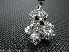 TINY SMALL MINIATURE CUTE BLING JEWELLED DIAMONTE HANDMADE TEDDY BEAR CHARM 2cm