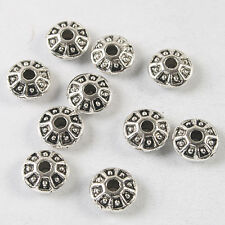 60pcs dark silver tone Oblate flower spacer beads h3734