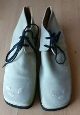 HOBBY SPORT WOMENS BEIGE GREY SUEDE LEATHER FLAT LACE UP SHOES SIZE UK 5 EU 38