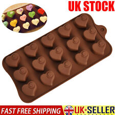 15 cell Heart Swirl Chocolate Box Candy Silicone Bakeware Mould Cake Wax Melt UK