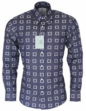Relco Denim Blue Abstract Square Print Shirt Long Sleeve Platinum Collection Mod