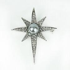 Unisex Crystal Rhinestone Pearl Star Pin Brooch Fashion Charms Accessories Gift