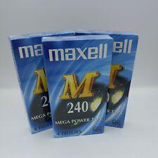 More details for 3 maxell 240 mega power blank e-240 m vhs video cassette tapes sealed